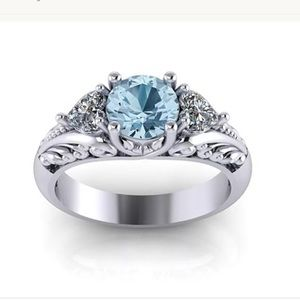Jewelry - 2ct 925 Blue and White Sapphire Love ring